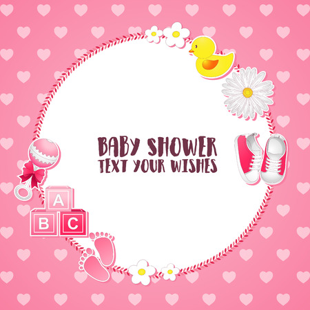 Vector illustration of baby shower invitation card for a girl with pink items. Illustration