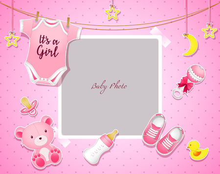 Baby shower set. Invitation template with place for text