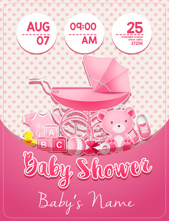 Baby shower girl invitation template with toys Stock Photo