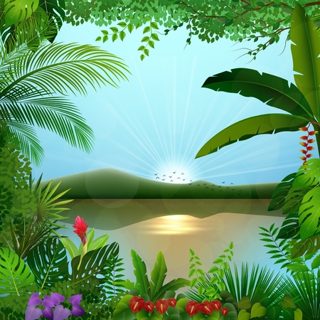 Vector illustration of Tropical jungle landscape with river and mountains 向量圖像