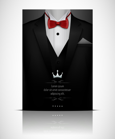 Vector illustration of Black suit and tuxedo with red bow tie