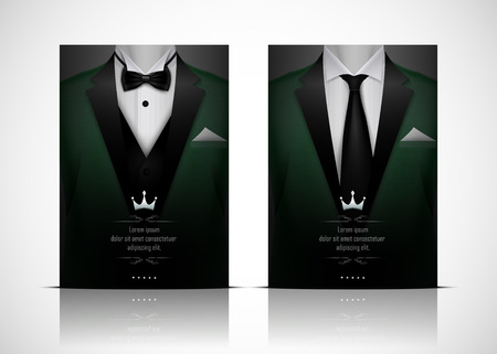 Vector illustration of Green Suit and Tuxedo with black bow tie