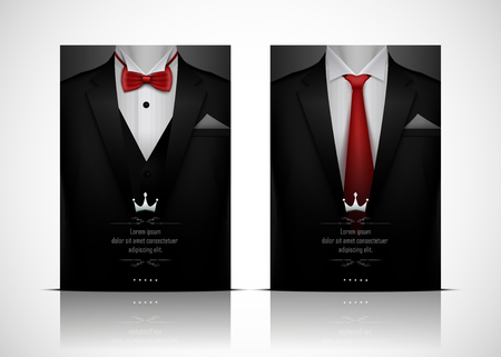 Vector illustration of Black Suit and Tuxedo with red bow tie Иллюстрация