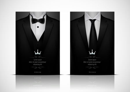 Vector illustration of Black Suit and Tuxedo with bow tie