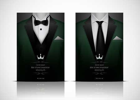 Green Suit and Tuxedo with black bow tie Stock Photo