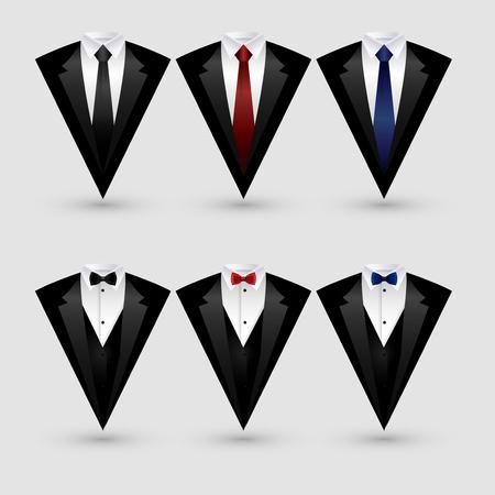 Set of suit and tuxedo isolated on white background