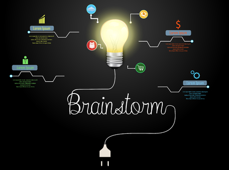 Vector illustration of Creative brainstorm concept and light bulb infographic template with 8 options