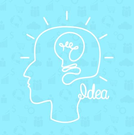 Vector illustration of Creative idea. Human head creating a new idea Ilustrace