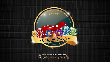 Casino colorful chips with red dice and golden ribbon on dark background