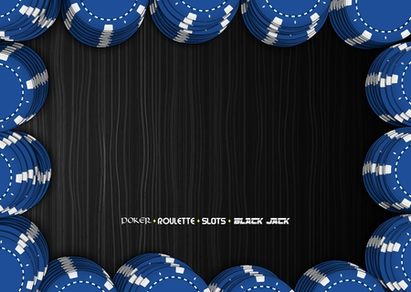 Casino chips on a black background. Top view of blue stacks casino chips Illustration