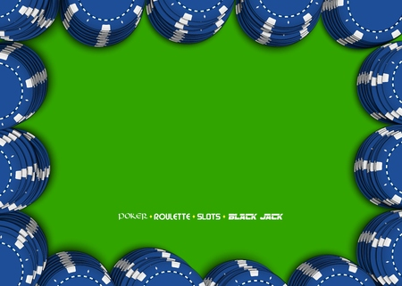 Casino chips on a green background. Top view of blue stacks casino chips