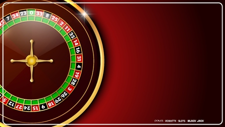 Casino roulette wheel isolated on red background Illustration