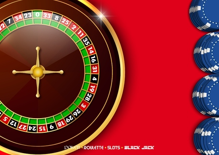 Casino roulette wheel with casino chips on red casino table Illustration