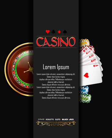 Casino banner with roulette wheel, chips and playing cards Foto de archivo - 101051865