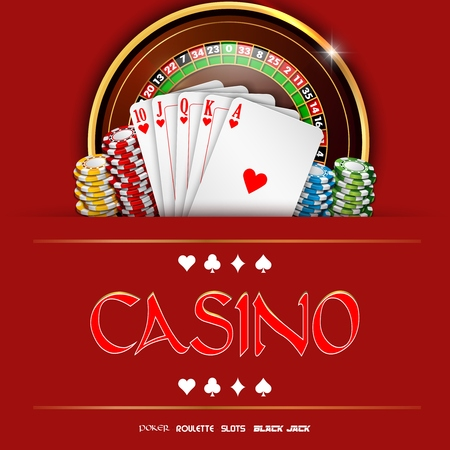 Casino roulette with chips and playing cards Stock Photo