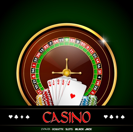 Casino roulette with chips and playing cards on green background