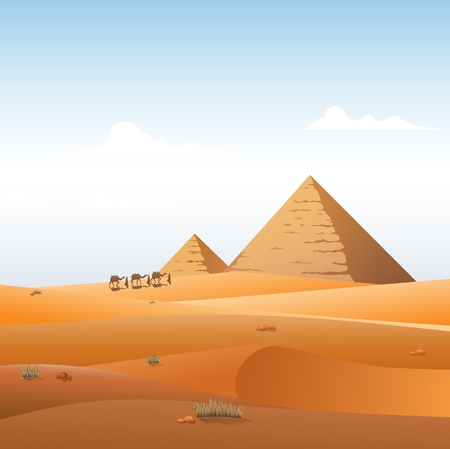 Camel caravan in wild Africa pyramids landscape background