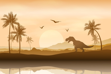 Silhouette of a dinosaur in riverbank background