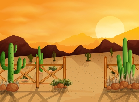 Desert landscape background with cactuses, hills, stones, fences and mountains at sunset