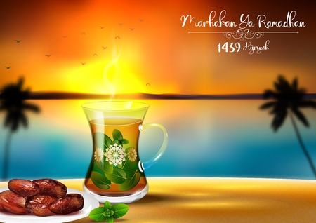 Vector illustration of Marhaban ya Ramadhan. Iftar party celebration with traditional tea cup and a bowl of dates in sunset beach background Illustration