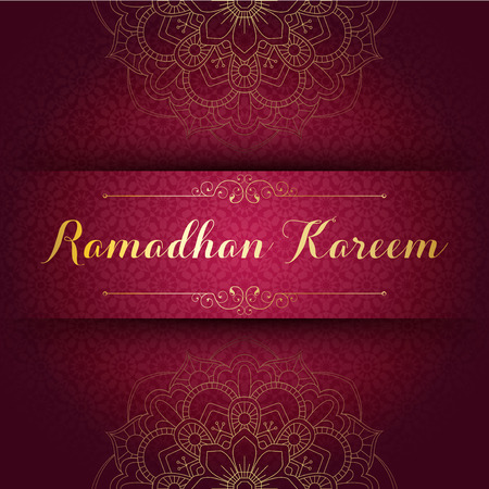 Vector illustration of Ramadan Kareem greeting card template with arabic geometric pattern