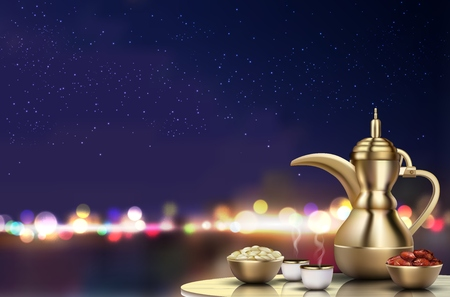 Vector illustration of Ramadan Kareem Iftar party celebration. Traditional teapot with bowl, cups and dates on dinner table