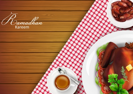 Ramadan Kareem Iftar party celebration with traditional Arabic dishes on wooden table Foto de archivo