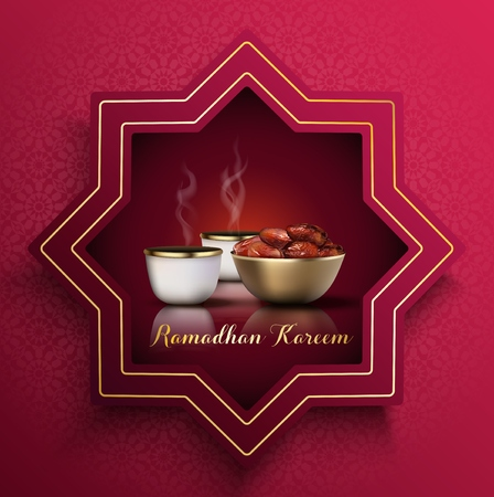 Ramadan Kareem greeting card. Iftar party celebration with traditional coffee cup and bowl of dates