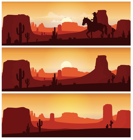 Cowboy riding horse against sunset background. Wild western silhouettes banners Stock Photo