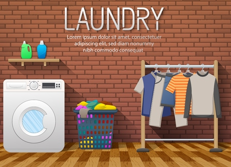 Illustrazione vettoriale di lavanderia con lavatrice, asciugatura vestiti e cesto di vestiti sul fondo del muro di mattoni