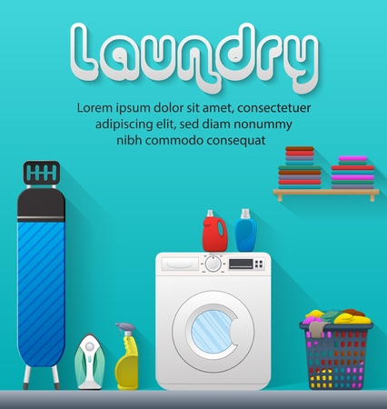 Vector illustration of Laundry room with washing machine and ironing board