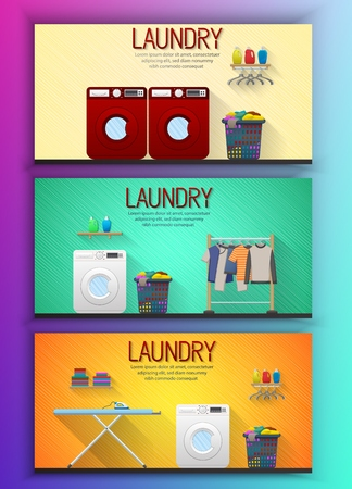 Vector illustration of Laundry room interior with two washing machines, drying clothes and ironing board Ilustrace