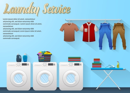 Vector illustration of Laundry service design with washing machine, ironing board and drying clothes