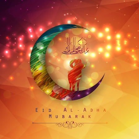 Vector illustration of Eid Al Adha background design with colorful moon and sheep Illustration