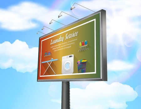 Billboard advertisement poster with laundry service on daytime blue sky background 版權商用圖片
