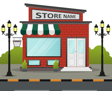 Vector illustration of flat design store front with place for name