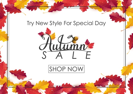 Vector illustration of Autumn sale background Vectores
