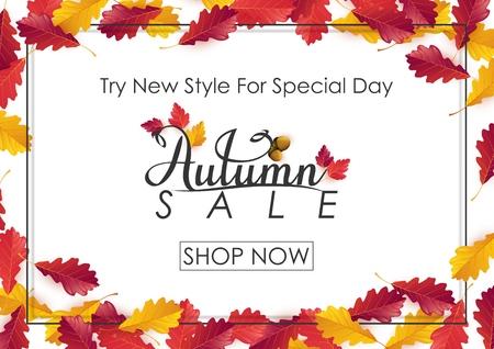 Vector illustration of Autumn sale background Ilustração