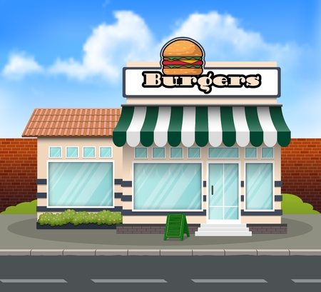 Vektorillustration des Burger-Ladengebäudehintergrundes