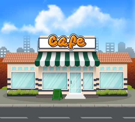 Vector illustration of Cafe storefront building background