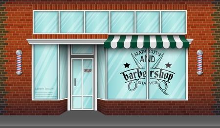Vector illustration of Barbershop storefront building background