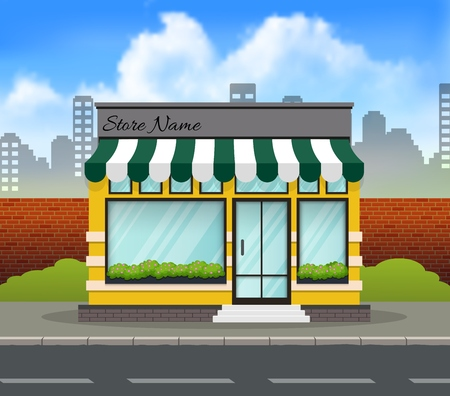 Green and yellow store building background