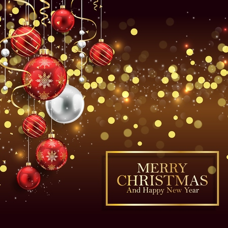 Vector illustration of Christmas background with red balls