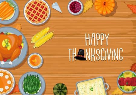 Vector illustration of Thanksgiving greeting card dinner table in flat style design Иллюстрация