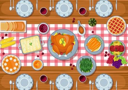 Illustration vectorielle de table de dîner de carte de voeux de Thanksgiving dans un style plat Vecteurs