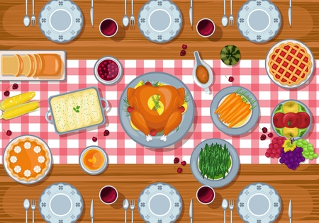 Vector illustration of Thanksgiving greeting card dinner table in flat style design