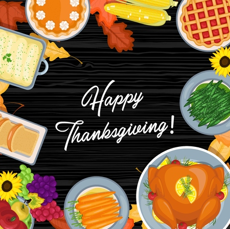 Vector illustration of Thanksgiving meal on the table. Thanksgiving greeting card in flat style design