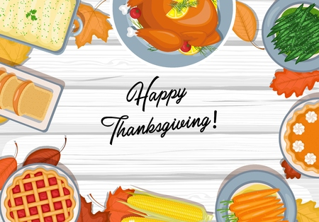 Vector illustration of Thanksgiving dinner on the table