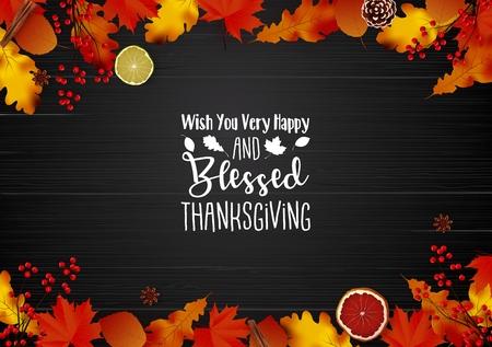 Illustration vectorielle de carte de voeux pour le jour de Thanksgiving avec des feuilles d'automne Vecteurs