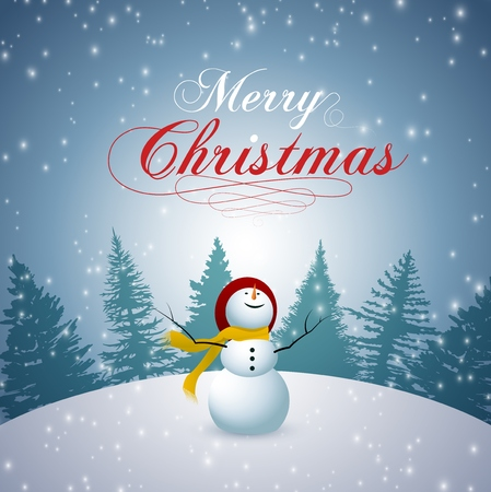 Merry Christmas  Happy New Year 2019 and snowman set with snowflakes Ilustrace